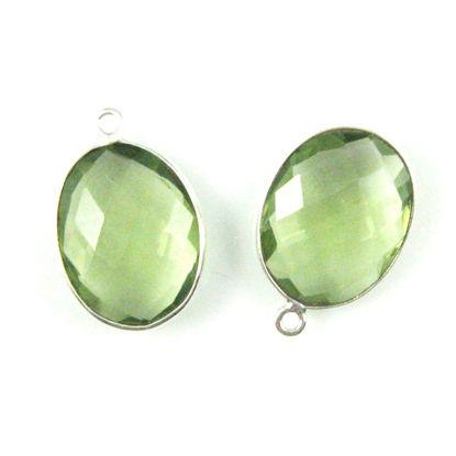 Wholesale Sterling Silver Oval Bezel Green Amethyst Quartz Gemstone Pendant, Wholesale Gemstone Pendants for Jewelry Making