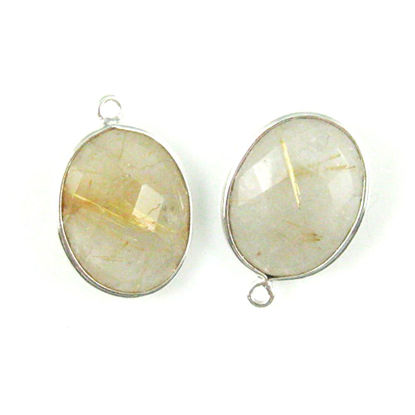Wholesale Sterling Silver Oval Bezel Gold Rutilated Quartz Gemstone Pendant, Wholesale Gemstone Pendants for Jewelry Making