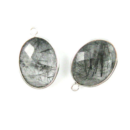 Wholesale Sterling Silver Oval Bezel Black Rutilated Quartz Gemstone Pendant, Wholesale Gemstone Pendants for Jewelry Making
