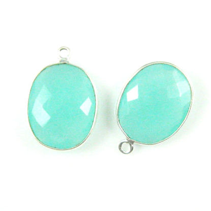 Wholesale Sterling Silver Oval Bezel Peru Chalcedony Gemstone Pendant, Wholesale Gemstone Pendants for Jewelry Making