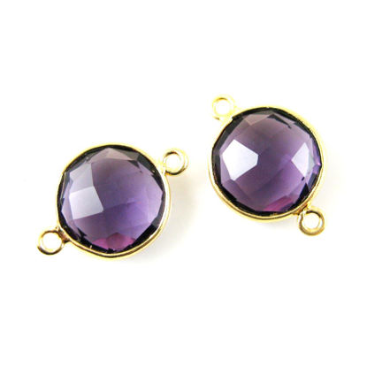 Wholesale Gold Over Sterling Silver Bezel Gemstone Link - Faceted Coin Shape - Amethyst Quartz - February Birthstone