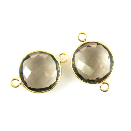 Wholesale Bezel Gemstone Links - Gold Plated Sterling Silver - Faceted Coin Shape - Smoky Quartz