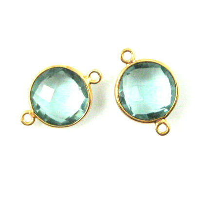 Wholesale Gold Over Sterling Silver Bezel Gemstone Link - Faceted Coin Shape - Aqua Quartz - March Birthstone