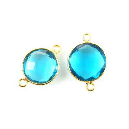 Wholesale Gold Over Sterling Silver Bezel Gemstone Link - Faceted Coin Shape - Blue Topaz Quartz - December Birthstone