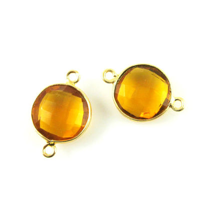 Wholesale Gold Over Sterling Silver Bezel Gemstone Link - Faceted Coin Shape - Citrine Quartz - November Birthstone