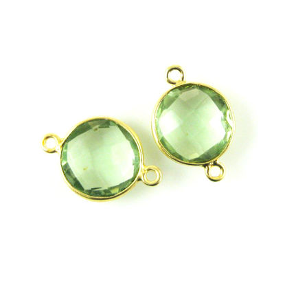 Wholesale Gold Over Sterling Silver Bezel Gemstone Link - Faceted Coin Shape - Green Amethyst Quartz