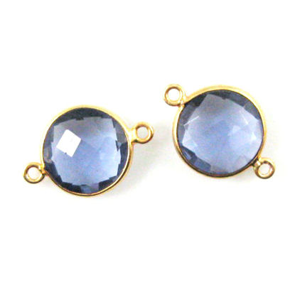 Wholesale Gold Over Sterling Silver Bezel Gemstone Link - Faceted Coin Shape - Iolite Quartz