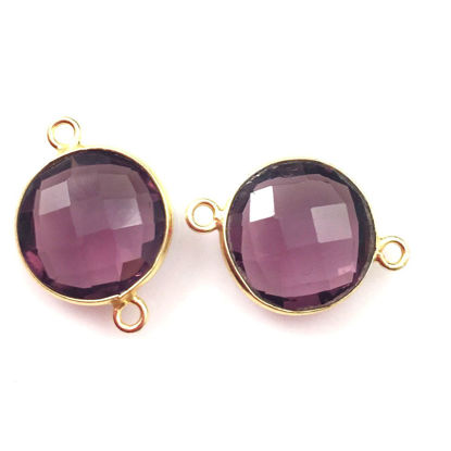 Wholesale Gold Over Sterling Silver Bezel Gemstone Link - Faceted Coin Shape - Pink Amethyst Quartz
