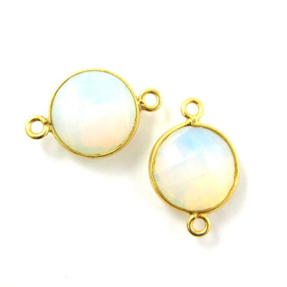 Wholesale Gold Over Sterling Silver Bezel Gemstone Link - Faceted Coin Shape - Opalite Quartz - October Birthstone