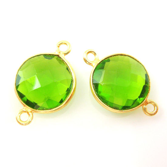 Wholesale Gold Over Sterling Silver Bezel Gemstone Link - Faceted Coin Shape - Peridot Quartz - August Birthstone