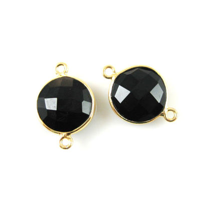 Wholesale Gold Over Sterling Silver Bezel Gemstone Link - Faceted Coin Shape - Black Onyx