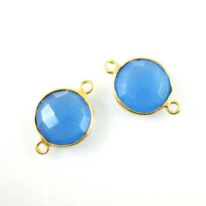 Wholesale Gold Over Sterling Silver Bezel Gemstone Link - Faceted Coin Shape - Blue Chalcedony