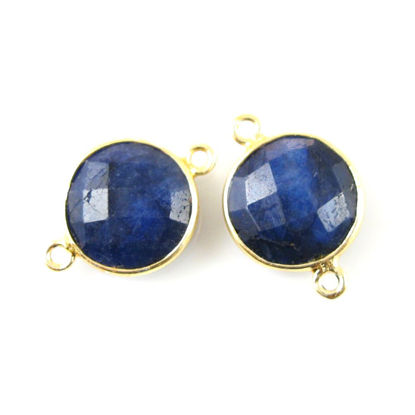 Wholesale Gold Over Sterling Silver Bezel Gemstone Link - Faceted Coin Shape - Blue Sapphire Dyed - September Birthstone
