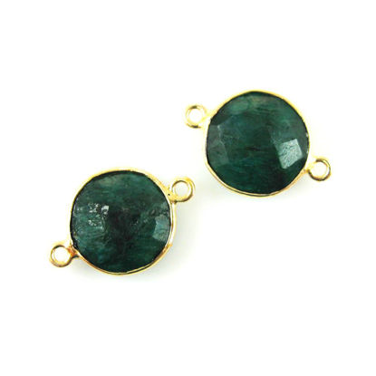 Wholesale Gold Over Sterling Silver Bezel Gemstone Link - Faceted Coin Shape - Emerald Dyed - May Birthstone