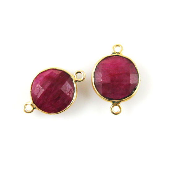 Wholesale Bezel Gemstone Links - Vermeil - Faceted Coin Shape - Dyed Ruby