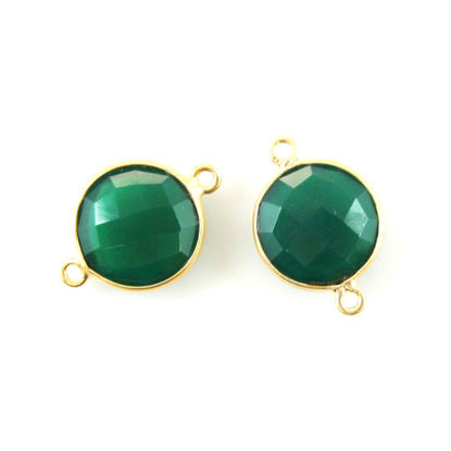 Wholesale Gold Over Sterling Silver Bezel Gemstone Link - Faceted Coin Shape - Green Onyx