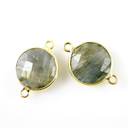 Wholesale Gold Over Sterling Silver Bezel Gemstone Link - Faceted Coin Shape - Labradorite