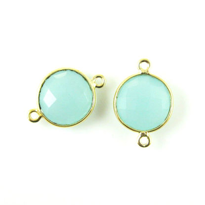 Wholesale Gold Over Sterling Silver Bezel Gemstone Link - Faceted Coin Shape - Peru Chalcedony