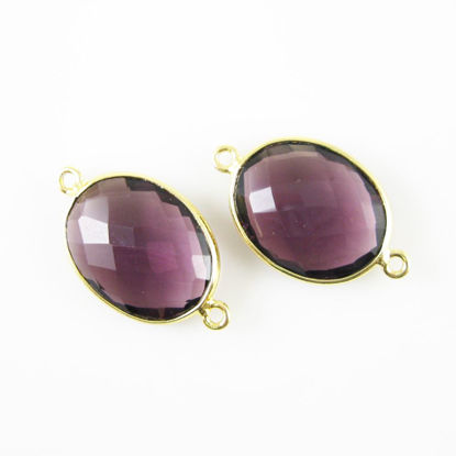 Wholesale Bezel Gemstone Links - 14x18mm Faceted Oval - Amethyst Quartz