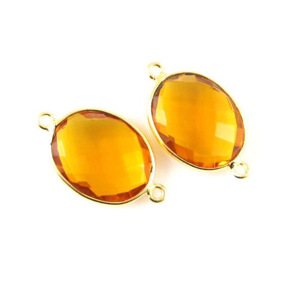 Wholesale Bezel Gemstone Links - 14x18mm Faceted Oval - Citrine Quartz