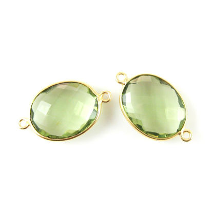Wholesale Bezel Gemstone Links - 14x18mm Faceted Oval - Green Amethyst Quartz