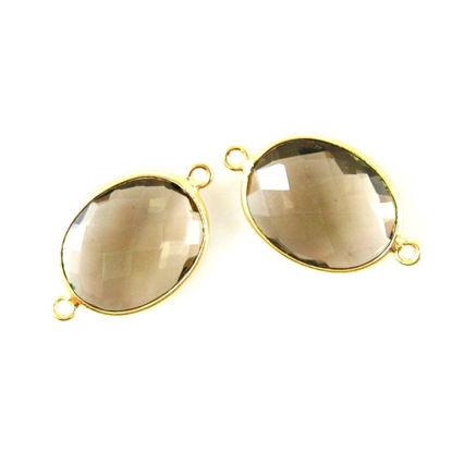 Wholesale Bezel Gemstone Links- 14x18mm Faceted Oval - Smoky Quartz