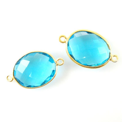 Wholesale Bezel Gemstone Links- 14x18mm Faceted Oval - Blue Topaz Quartz