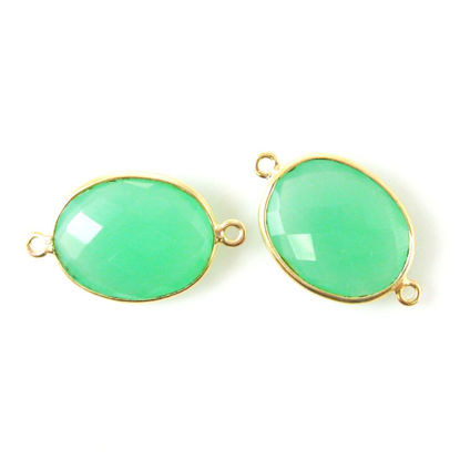 Wholesale Bezel Gemstone Links - 14x18mm Faceted Oval - Prehnite Chalcedony