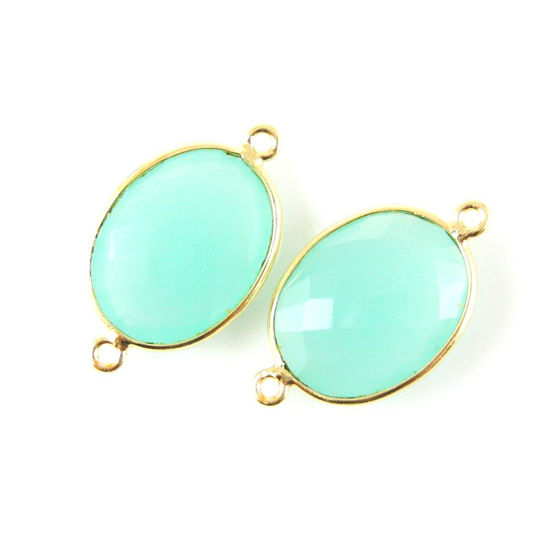 Wholesale Bezel Gemstone Links - 14x18mm Faceted Oval - Peru Chalcedony
