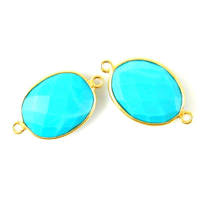 Wholesale Bezel Gemstone Links - 14x18mm Faceted Oval - Turquoise