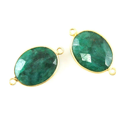 Wholesale Bezel Gemstone Links- 14x18mm Faceted Oval - Dyed Emerald
