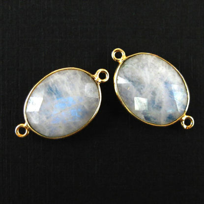 Wholesale Bezel Gemstone Links - 14x18mm Faceted Oval - Moonstone