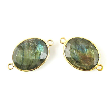 Wholesale Bezel Gemstone Links - 14x18mm Faceted Oval - Labradorite