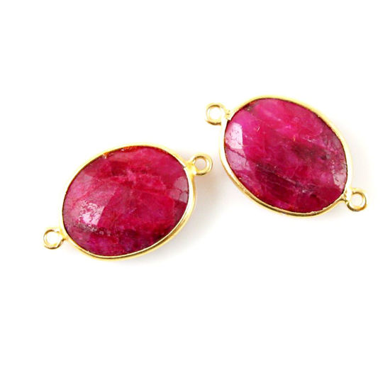 Wholesale Bezel Gemstone Links - 14x18mm Faceted Oval - Dyed Ruby