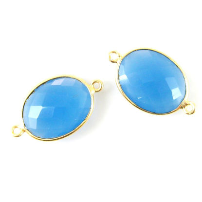 Wholesale Bezel Gemstone Links - 14x18mm Faceted Oval - Blue Chalcedony