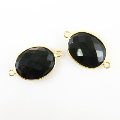 Wholesale Bezel Gemstone Links - 14x18mm Faceted Oval - Black Onyx