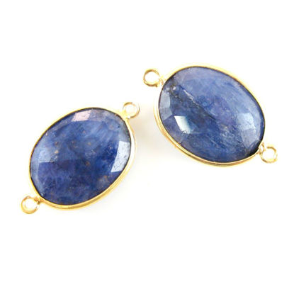 Wholesale  Bezel Gemstone Links - 14x18mm Faceted Oval - Dyed Blue Sapphire