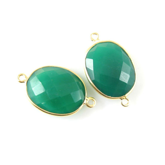 Wholesale Bezel Gemstone Links - 14x18mm Faceted Oval - Green Onyx
