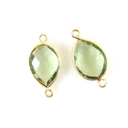 Wholesale Bezel Gemstone Links- 10x14mm Faceted Pear - Green Amethyst Quartz