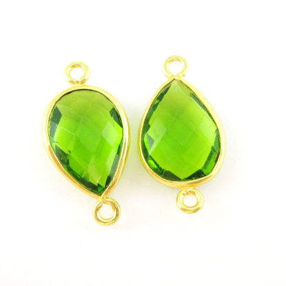 Wholesale Bezel Gemstone Links - Vermeil Connector - 10x14mm Faceted Pear - Peridot Quartz - August Birthstone