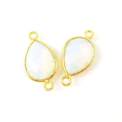Wholesale Bezel Gemstone Links - Vermeil Connector - 10x14mm Faceted Pear - Opalite Quartz - October Birthstone