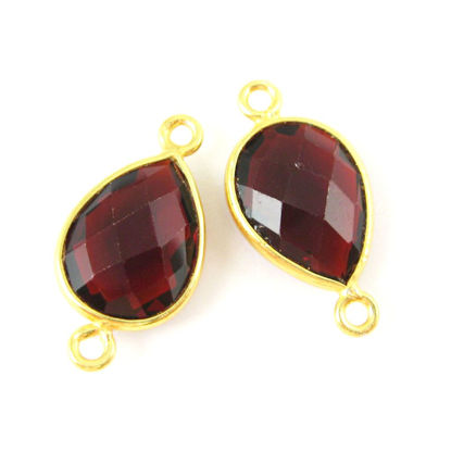 Wholesale Bezel Gemstone Links - Vermeil Connector - 10x14mm Faceted Pear - Garnet Quartz - Jaunary Birthstone