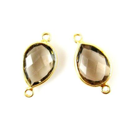 Wholesale Bezel Gemstone Links - 10x14mm Faceted Pear - Smoky Quartz