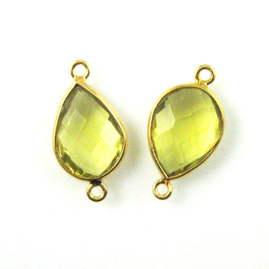 Wholesale Bezel Gemstone Links - 10x14mm Faceted Pear - Lemon Quartz