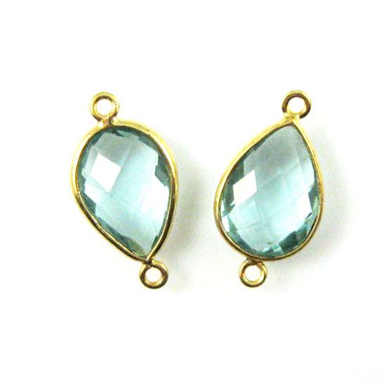 Wholesale Bezel Gemstone Links - 10x14mm Faceted Pear - Aqua Quartz