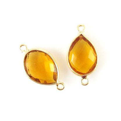 Wholesale Bezel Gem Connector - 10x14mm Faceted Pear - Citrine Quartz
