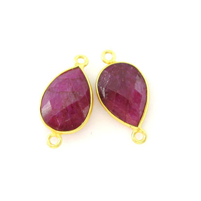 Wholesale Bezel Gemstone Links - Vermeil Connector - 10x14mm Faceted Pear - Ruby Dyed - July Birthstone