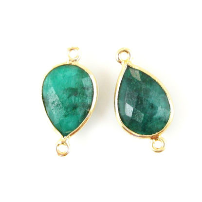 Wholesale Bezel Gemstone Links - 10x14mm Faceted Pear - Dyed Emerald