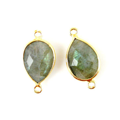 Wholesale Bezel Gemstone Links - 10x14mm Faceted Pear - Labradorite