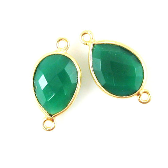 Wholesale Bezel Gemstone Links - 10x14mm Faceted Pear - Green Onyx